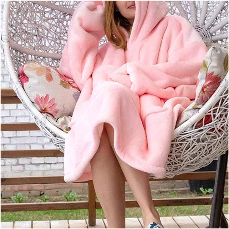 ZHBD Roben Decke mit Ärmeln Frauen Maxi-Hoodie Winter-Sweatshirts Erwachsene Frau 92.28D Pink 1