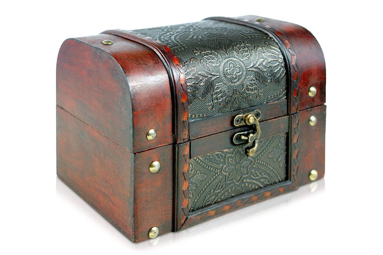 Brynnberg - Pirate Treasure Chest Storage Box - Durable Wood & Metal Construction - Unique, Handmade Vintage Design - Striking Decorative Element - The Best Gift (Alessia XL 18x13x13cm)