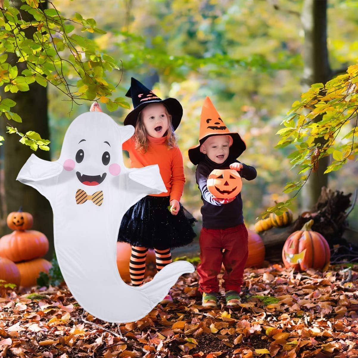 Halloween Ghost Windsocks Flags Ghost Windsock Outdoor Hanging Decoration Halloween for Indoor Outdoor (White)
