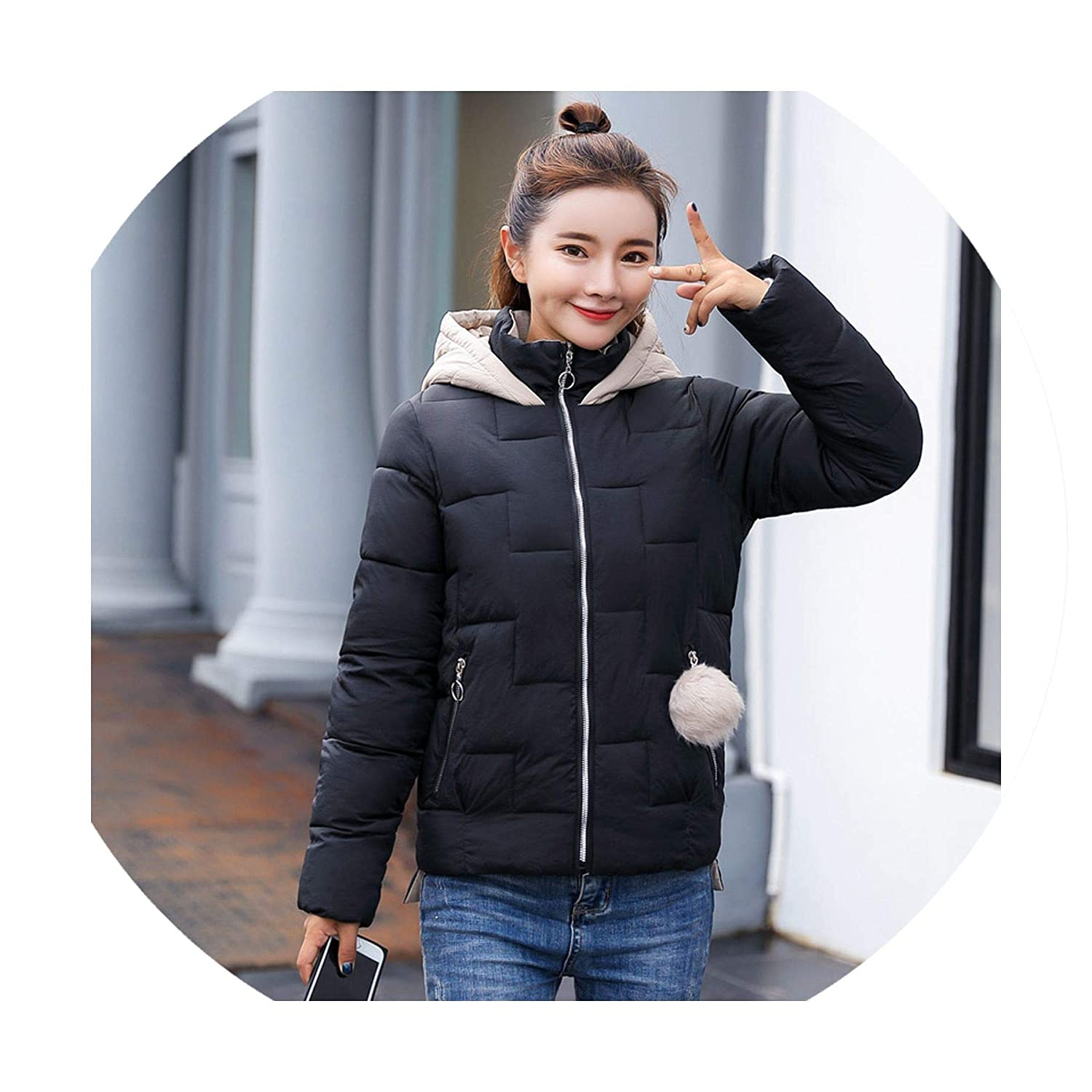 Women Jacket Hooded Outwear Short Coat Coats Parka Chaqueta ...