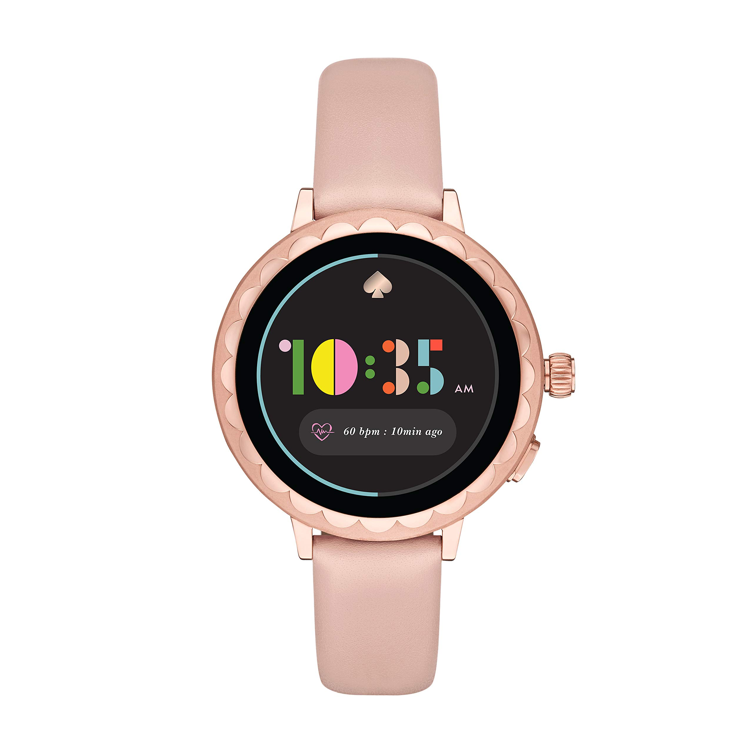 Kate Spade New York Women's Scallop 2 Stainless Steel Touchscreen smartwatch Watch with Leather Strap, Beige, 16 (Model: KST2009