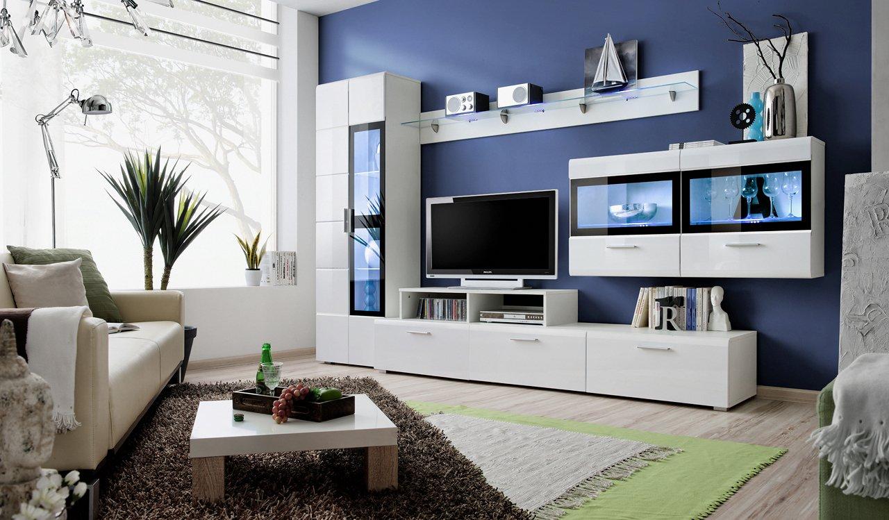 BMF Krone deutschen Modern Hochglanz Entertainment Wohnwand–Wohnzimmer/Schlafzimmer/Studio flach–Möbel Set–LED Cabinets–nur BMF. KRONE_4_WHITE