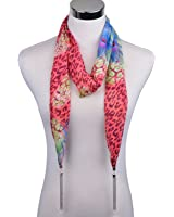 LERDU Women's Long Silk Chiffon Necklace Scarves Floral Print Funky Tassel Scarves