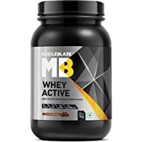MuscleBlaze Whey Active Protein Supplement Powder - 2.2 lb/ 1 kg, 30 Servings (Chocolate)