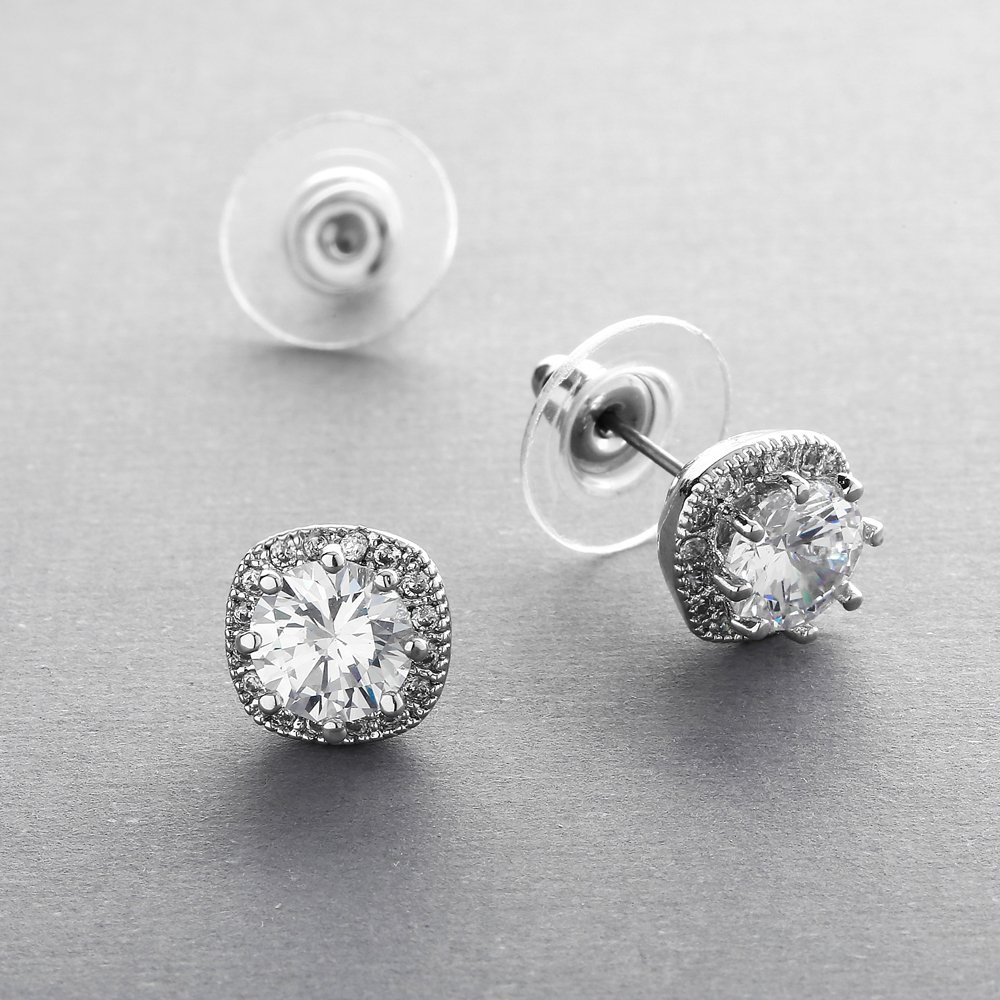 Mariell Cubic Zirconia Stud Earrings with 10mm Cushion Shaped Halos - Round-Cut CZ Solitaire Pave Studs by Mariell (Image #6)