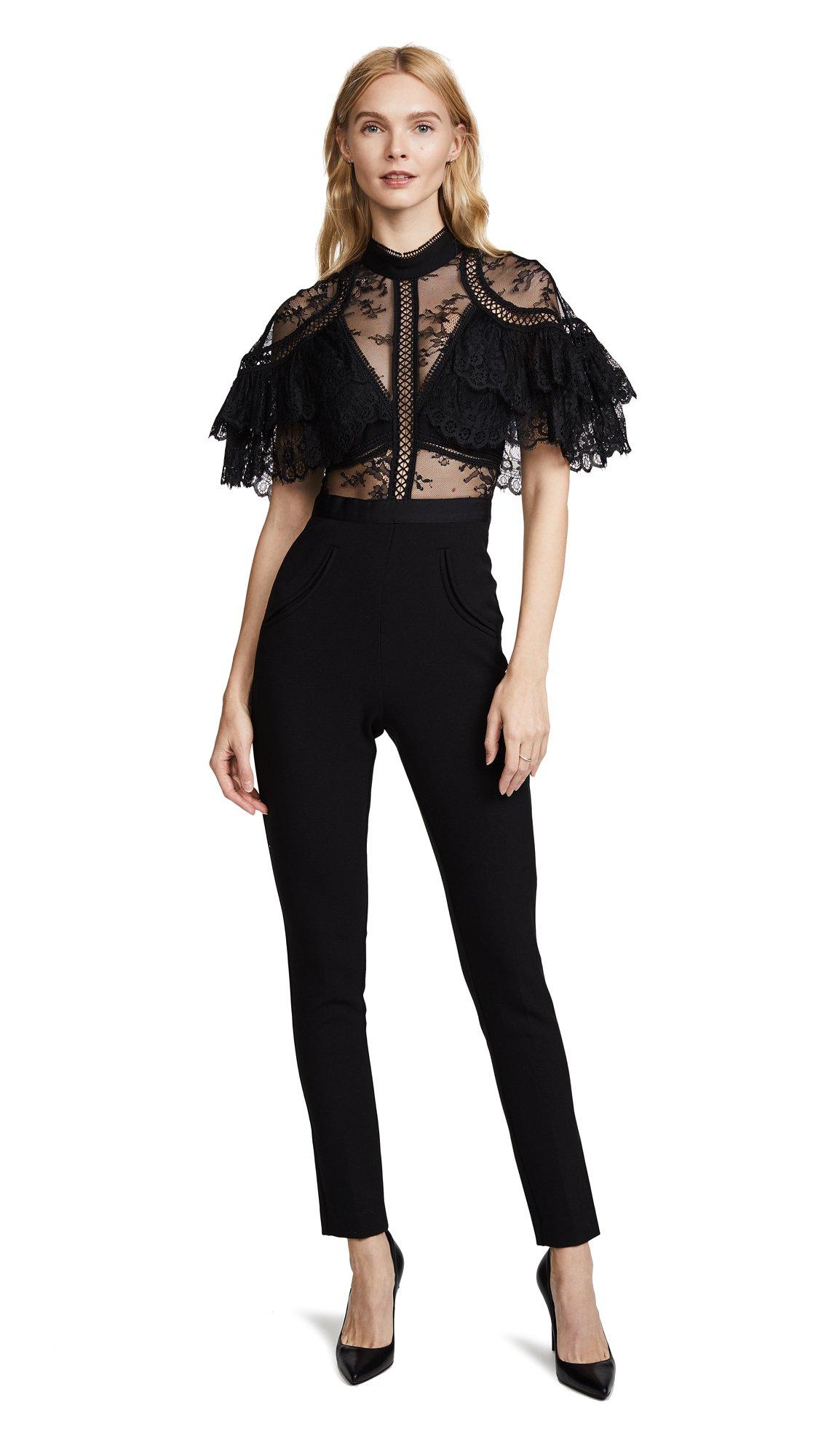 Self Portrait Women's Fine Lace Paneled Jumpsuit, Black, 8 by Self Portrait (Image #1)