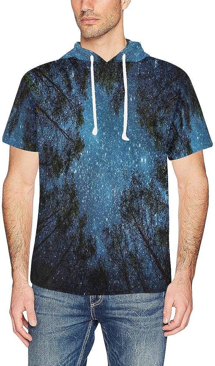 INTERESTPRINT Mens Short Sleeve Hoodies Pullover Beautiful Night Sky Casual Drawstring Shirts XS-2XL