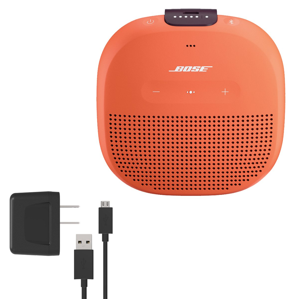 Bose SoundLink Micro Waterproof Bluetooth Speaker, Bright Orange, with Bose Wall Charger