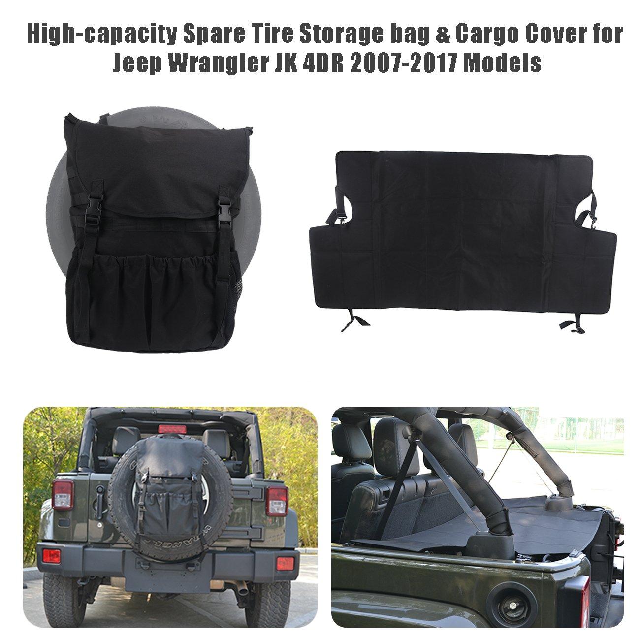 BOXATDOOR Wrangler JK Storage Bag pneumatico di ricambio & cargo copertura per Wrangler JK 4DR 2007 –  2017 models 1*STORAGE BAG 1*CARGO COVER