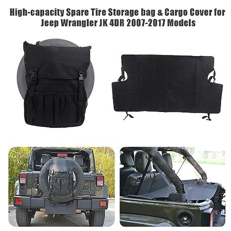 BOXATDOOR Wrangler JK - Bolsa de almacenamiento para neumáticos de repuesto y funda de carga para