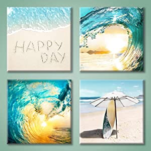 Seascape Pictures Wave Wall Art: Light Blue Wave & Surfboard Under The Parasol Canvas Painting Print for Bathroom (12'' x 12'' x 4 Panels)