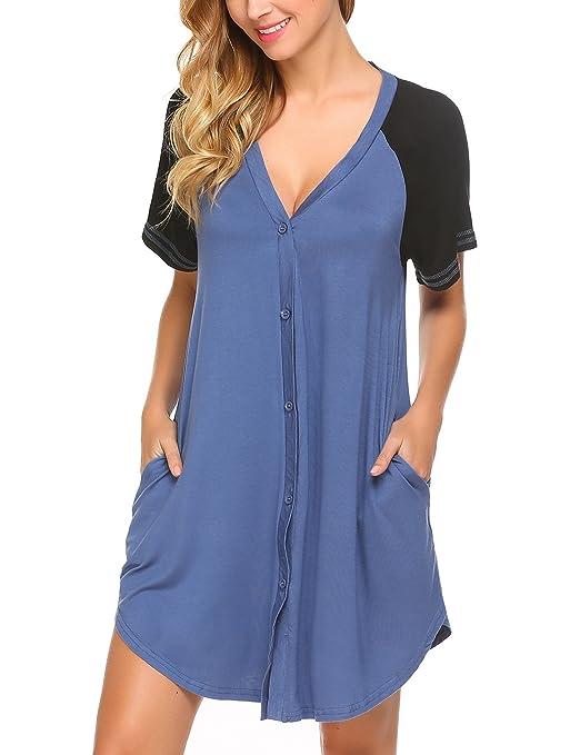 ADOME Pyjama Nachthemdem für Damen Sommer Schlafanzugoberteile Schwangere Knopfleiste Nachtwäsche V-Ausschnitt