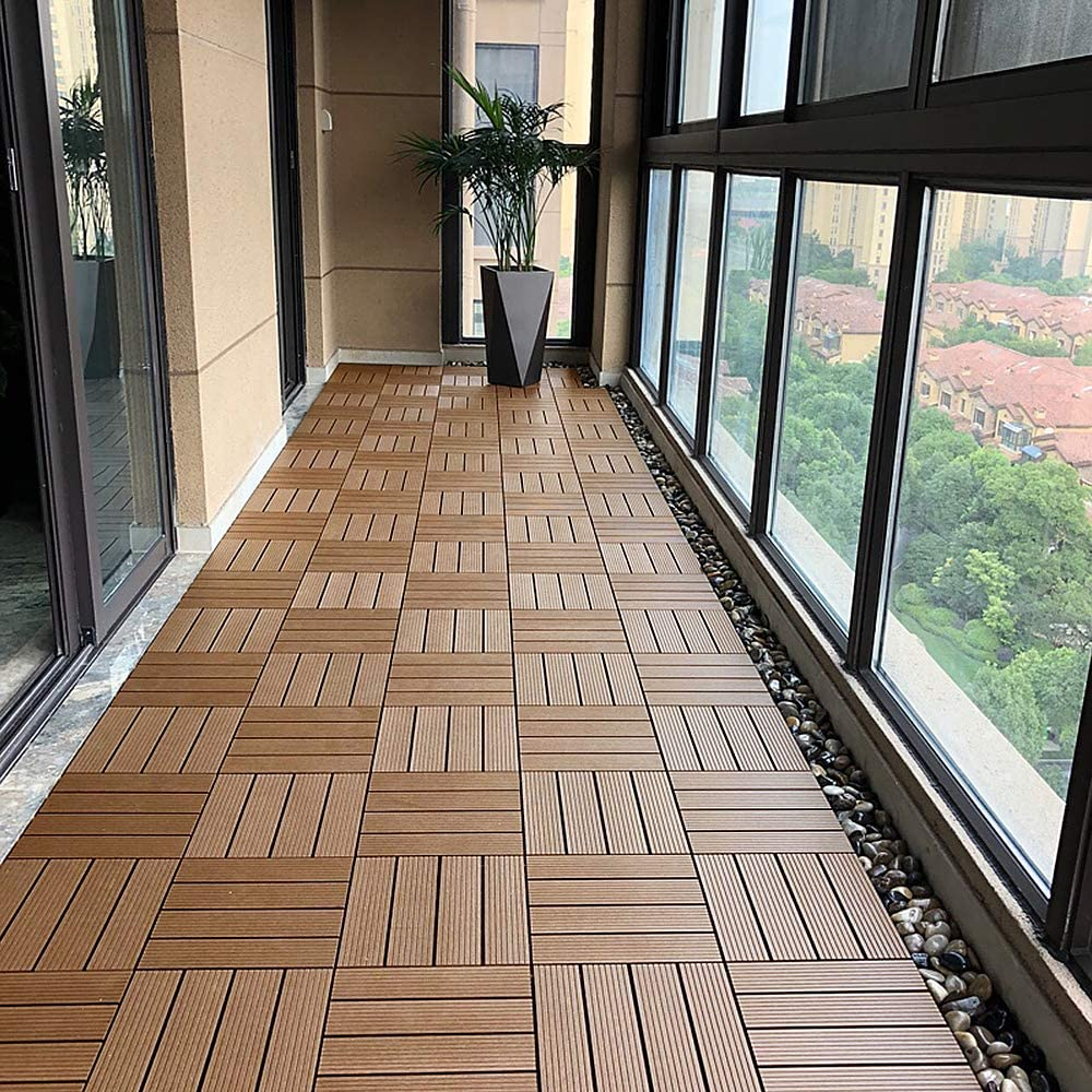 1m/² 30x30cm//St/ück, Anthrazit YINGXI 11x Terrassen Balkonfliesen Zusammenbaubar WPC Kunststoff Holz-Optik Garten klick-Fliese ca