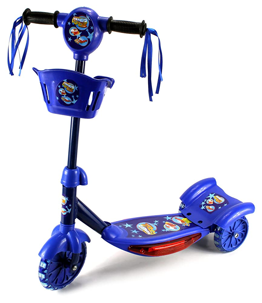 Classic Rider Children's Kid's Three Wheeled Metal Frame Toy Kick Scooter, Light Up Base w/ Music, Rear Fender Brake (Blue)