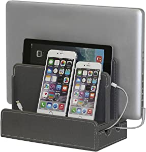 G.U.S. Multi-Device Charging Station Dock & Organizer - Multiple Finishes Available. For Laptops, Tablets, and Phones - Strong Build, Gray Leatherette