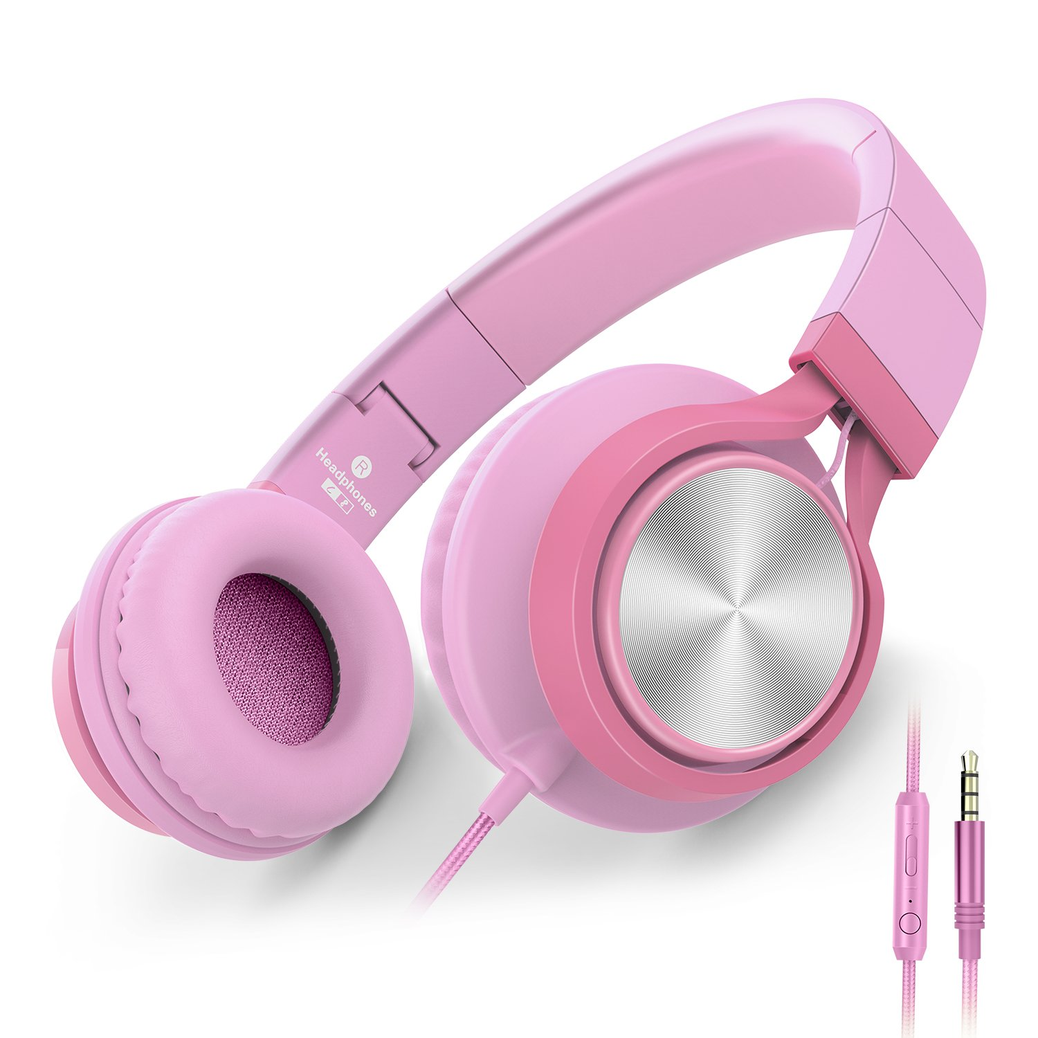 AILIHEN C8 Girls Headphones with Microphone and Volume Control Folding Lightweight Headset for Cellphones Tablets Smartphones Laptop Computer PC Mp3/4 (Pink) by AILIHEN
