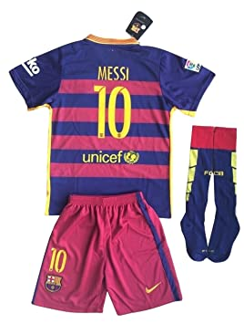 Messi  10 2015-2016 FC Barcelona Home Jersey with Shorts   Socks for Youth f26e4fcbf