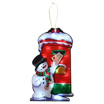 Window Silhouette Led Light Up Christmas Decoration Snowman Postbox Battery
