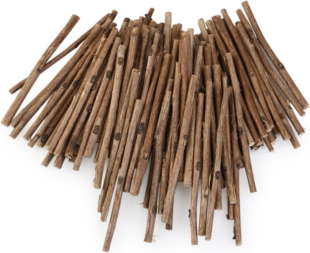 WINOMO 100pcs Wood Log Sticks for DIY Crafts 10CM Long 0.3-0.5CM in Diameter (Wood Color)