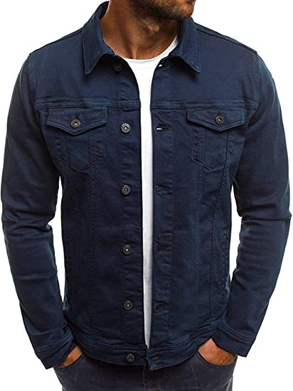 Men's Slim Fit Casual Jean Long Sleeve Button Up Denim Trucker Jacket Coat