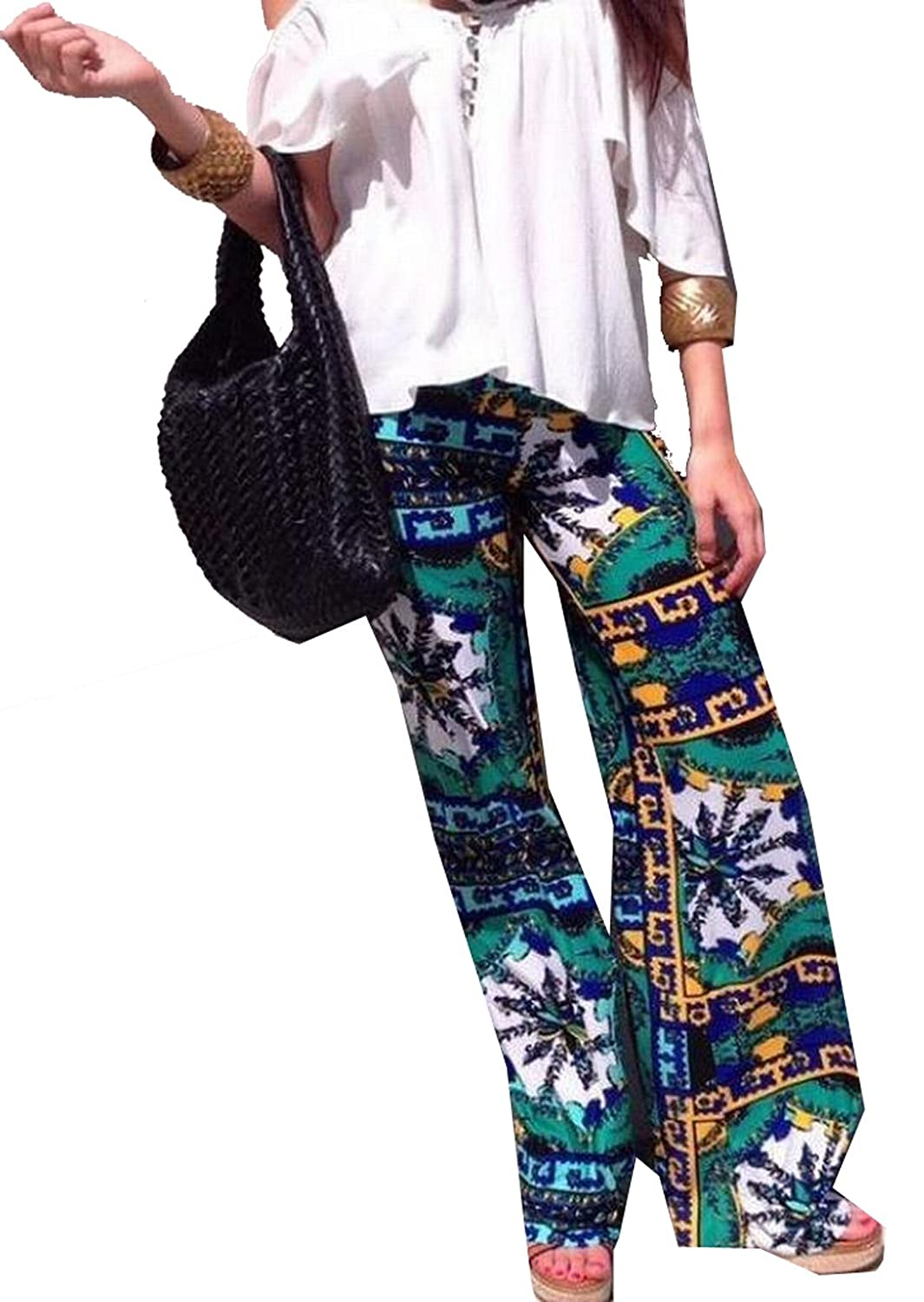 ASL Women's Casual Straight Loose Floral Palazzo Lounge Pant