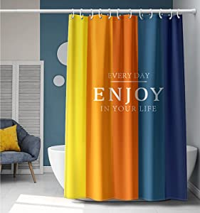 YellyHommy Cute Shower Curtain Blue Orange Yellow Bathroom Accessories Rainbow Bathroom Decor Colorful Shower Curtain Sets with 12 Hooks 72 x 72 Inches