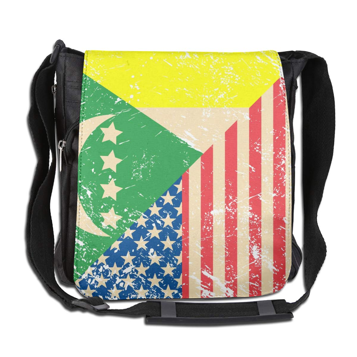 Unisex Stylish Satchel Messenger Bags American And Comoros Retro Flag Crossbody Shoulder Bag Hiking Bags For School//Work//Trips