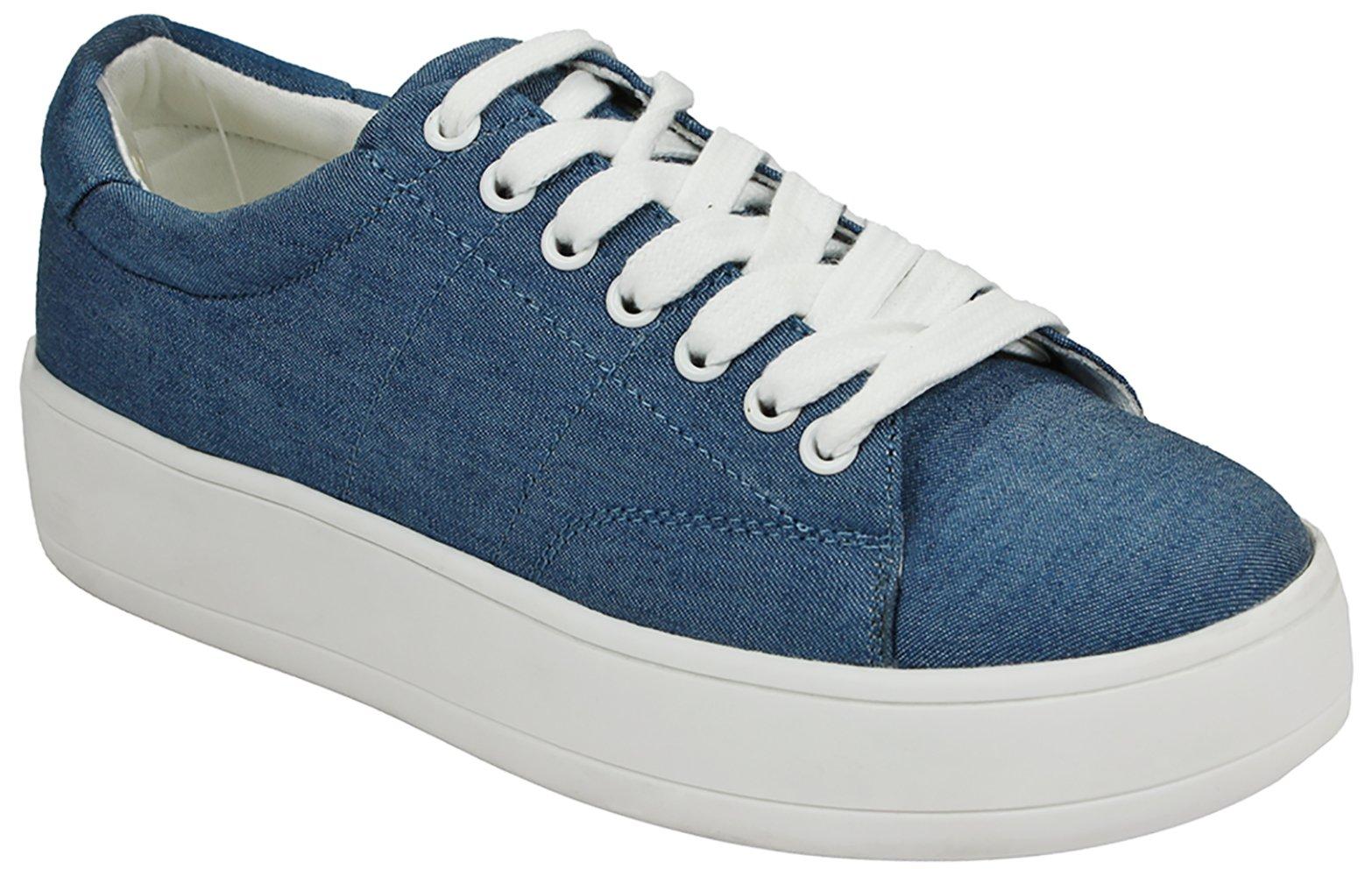 Women Teresa Blue Denim Fashion Lace-Up Lace-Up Rubber Thick Platform Sole Sneakers-8.5