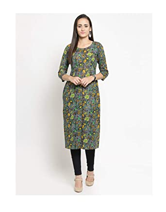 654d7410c0e24 Amazon.com  Hiral Designer Mall women Kurtis Indian partyware Readymade  3 4Sleeve Green Printed A-Line KurtaTunic Top for Women  Clothing