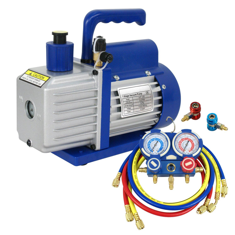 F2C 5CFM 1/3 HP Air Vacuum Pump HVAC Refrigeration KIT A/C Manifold Gauge Set Combo by F2C (Image #4)
