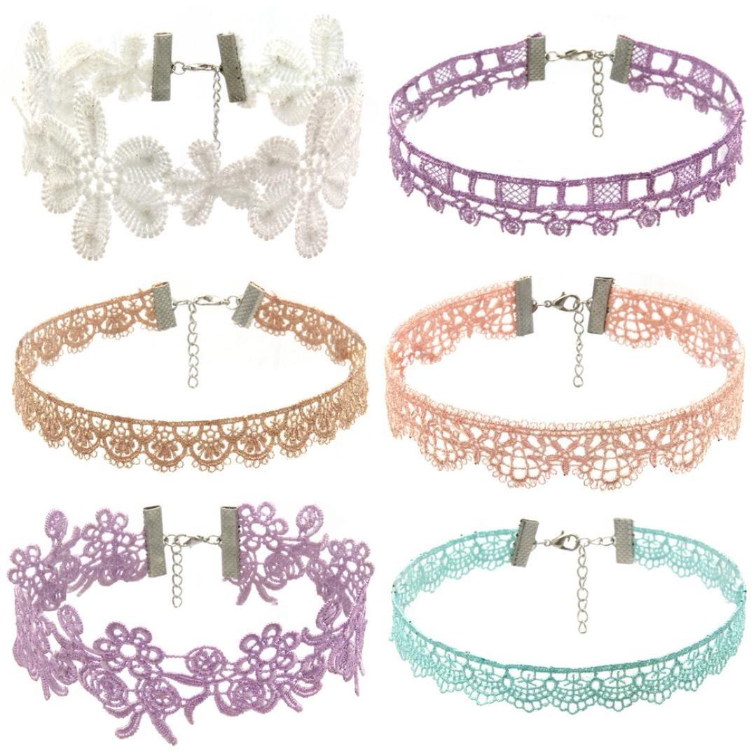 Women Necklace Pendant ,Lavany 6Pieces Choker Stretch Velvet Classic Gothic Tattoo Lace Necklace Set Gift For Women (C)