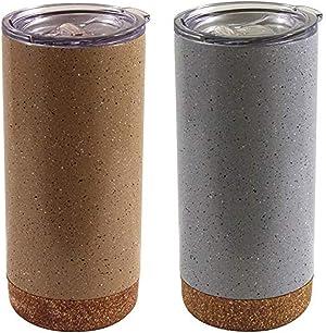 Green Canteen Vacuum Stainless Steel Thermal Coffee Mug-2 Pack, 16oz, Gray & Tan