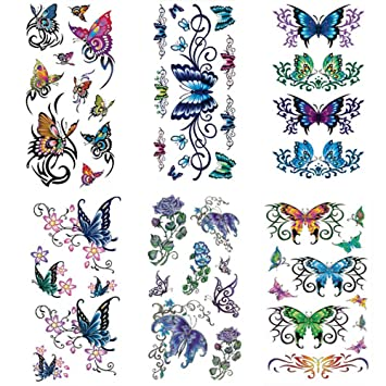 a3c2856c7 Temporary flower and butterfly tattoos 6 Pcs by Qufan,LargeTattoo Sticker  Fake Tattoos for women