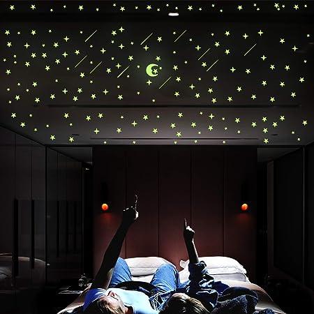 Luminoso pegatinas de pared estrellas y luna, DIY Fluorescente calcomanías de pared, perfectas para decoración de la sala habitación del dormitorio de niños o el regalo de cumpleaños, 206 Pzas