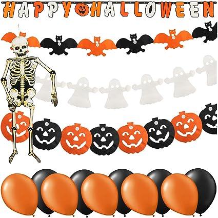 Com Four 15 Pièces Ensemble Déco Halloween De Comprenant Un Squelette Des Ballons Et Des Guirlandes Chauves Souris Des Citrouilles Des Fantômes Et