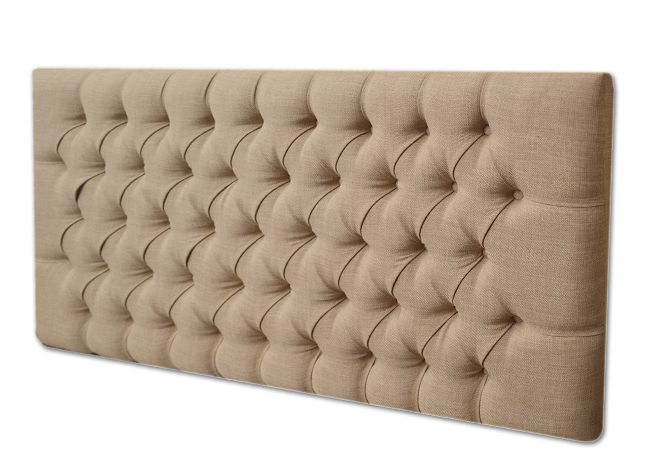 2FT6,3FT,4FT,4FT6,5FT DESIGNER NEW STYLE FABRIC MATCHING BUTTONS HEADBOARD (3FT SINGLE, CREAM CHENILLE)