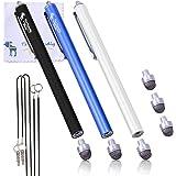 The Friendly Swede 3pieza Hybrid Stylus Pantalla Táctil Lápiz capacitivo con punta de microfibra intercambiable Noir/blanc/bleu foncé