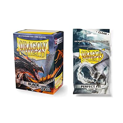 Dragon Shield Bundle: Non Glare Matte Black 100 Count Standard Size Deck Protector Sleeves + 100 Count Clear Inner Card Sleeves: Toys & Games