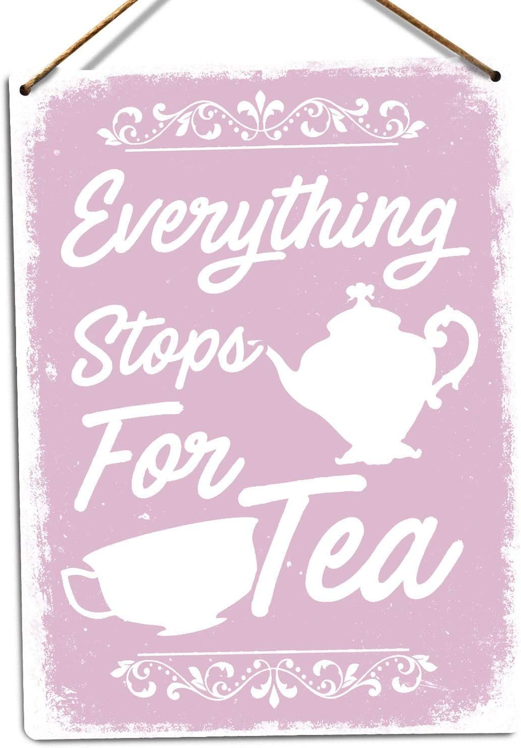 Fhdang Decor Aluminium Signs Everything Stops for Tea,Pink Metal Sign Street Signs 12x18 Inches