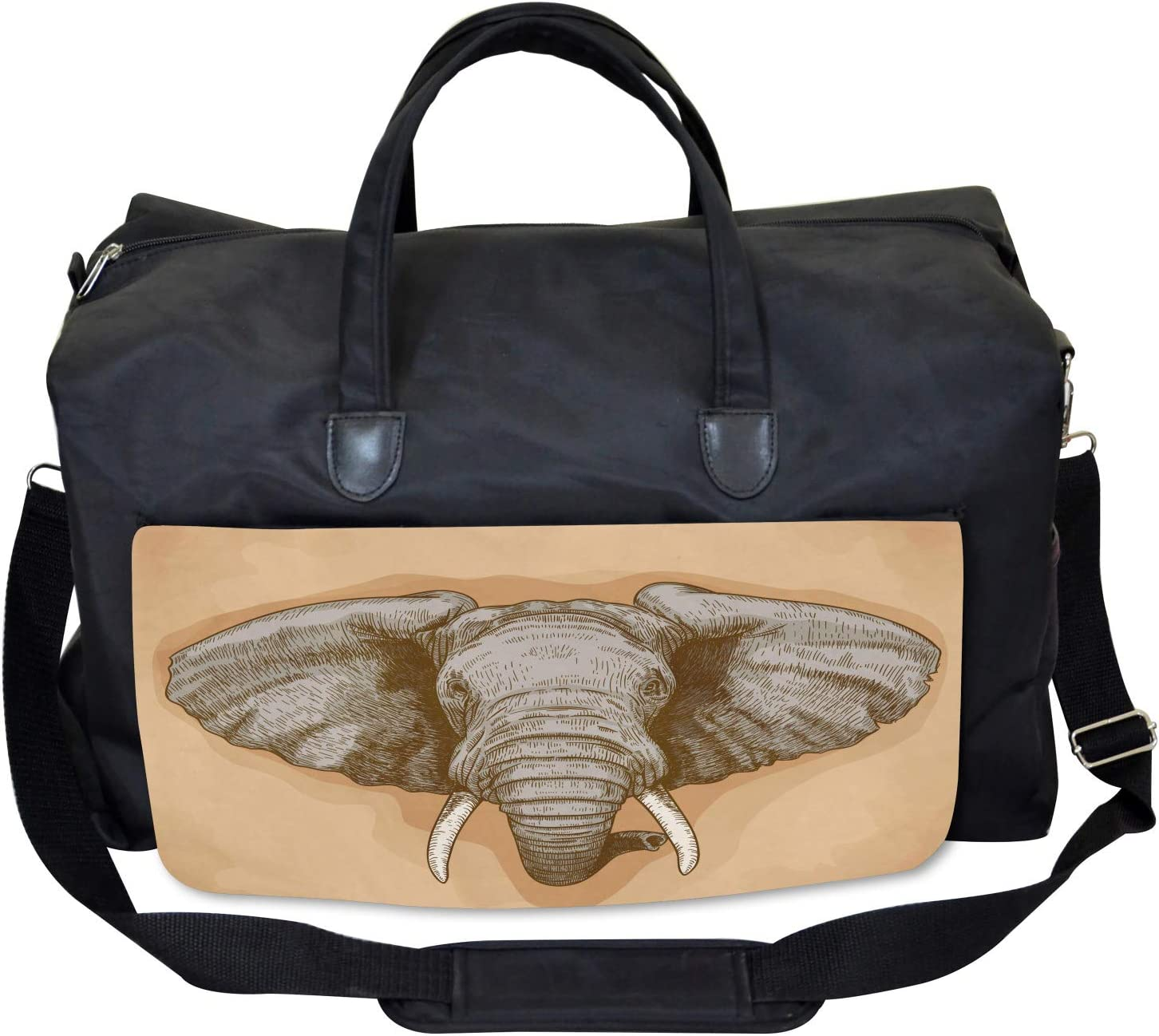 Wild Retro Elephants Ambesonne African Gym Bag Large Weekender Carry-on