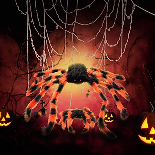Amazon.com: GiBot Halloween Ornaments 12 Feet FT Mega Round Spider Web and 2pcs Fake Plush Big Spider Props Scary Halloween Garden Doors and Outdoor Decorating with Super Elastic Spider Web Halloween Decoration Party: Toys & Games