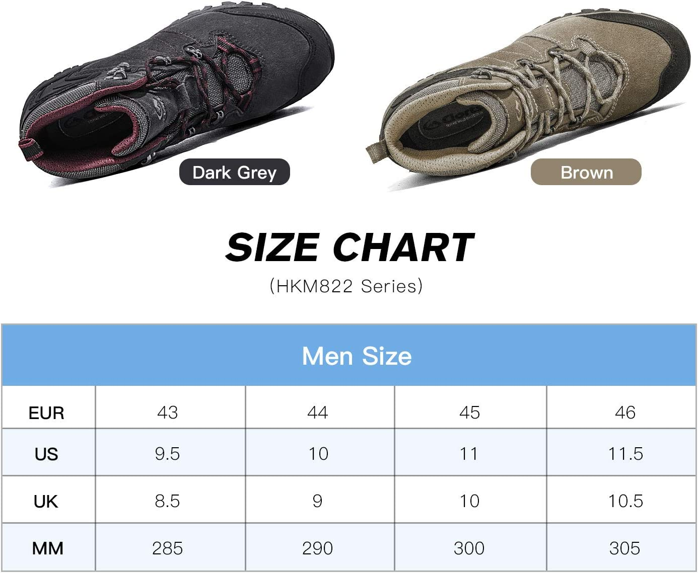 Clorts Men's Hiking Boots Waterproof Suede Leather Lightweight Hiking Shoes Outdoor Backpacking Trekking Trails Classic/brown