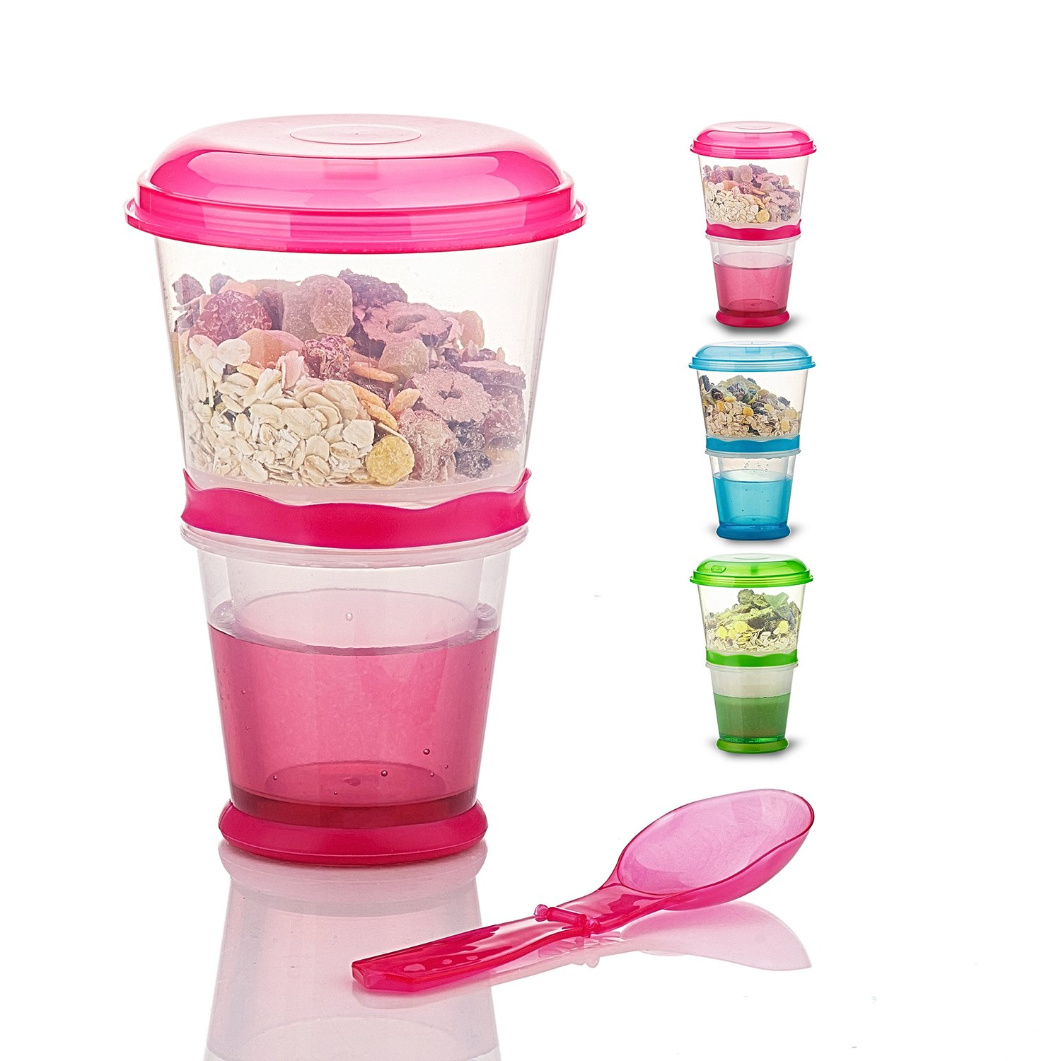 Cereal On the Go Cups Breakfast Drink Cups Portable Yogurt and Cereal To-Go Container Cup (Rose Red)