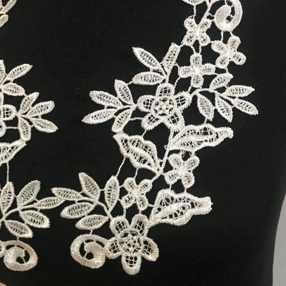 2 Pairs Embroidery Applique Wedding Lace Floral Motif Sewing Trims Decoration Purple D