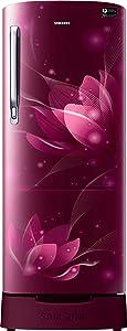 Samsung 192 L 4 Star Inverter Direct Cool Single Door Refrigerator(RR20T182XR8/HL, Blooming Saffron Red, Base Stand with Drawer)