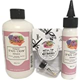 Art Institute Glitter Designer Dries Clear Adhesive Clear Glue Kit Bundle-3 Items 8oz,2oz and Metal Tip, Multicolored