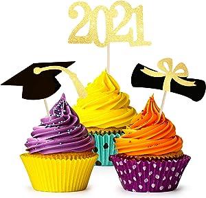Graduation Cupcake Toppers 2021, 48PCS Graduation Cupcake Decoration- Class of 2021 Graduation Cupcake Decorations Congrats Cake Toppers/Grad Class Party Supplies/Food Appetizer Picks Mini Cake Decor
