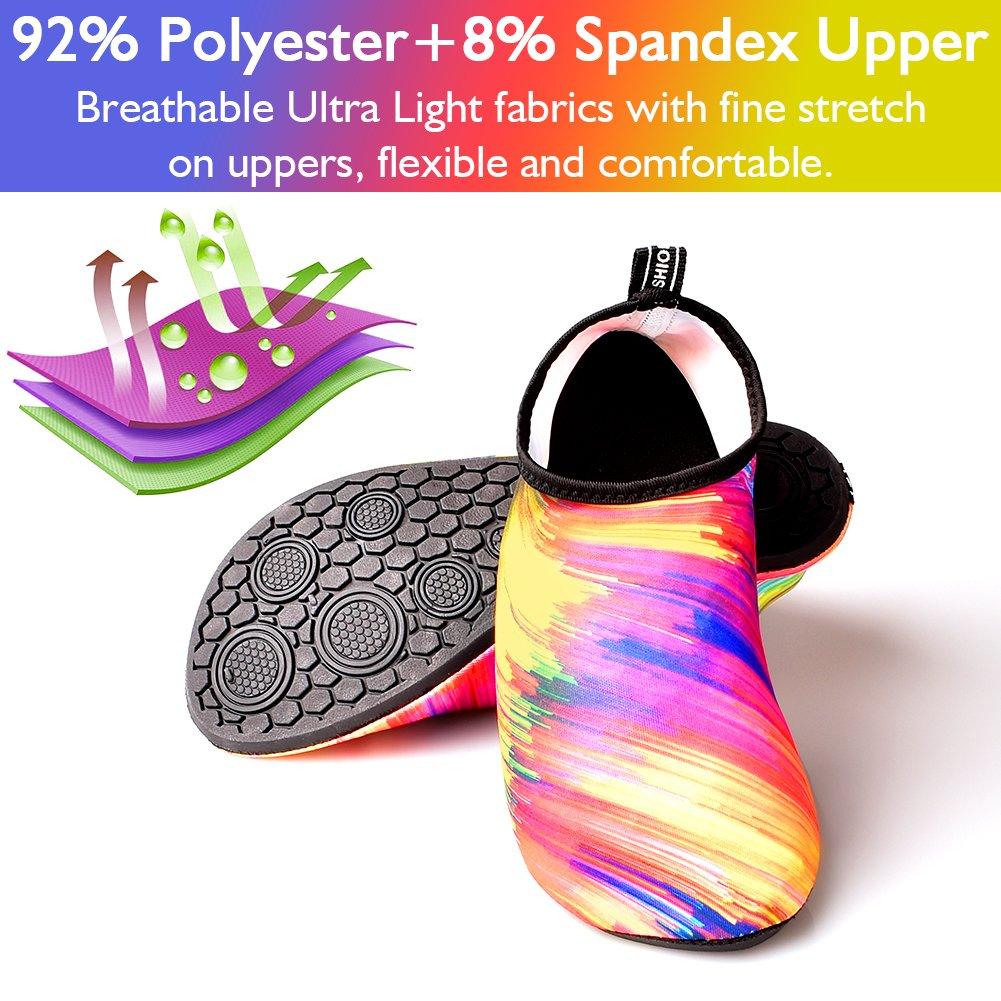 JNDDFAC Men Women Water Shoes Quick Dry Aqua Socks Barefoot Skin Beach Shoes for Swim Yoga Surf-Colorful (S(Women:7-8/Men:6-6.5), Colorful) by JNDDFAC (Image #3)
