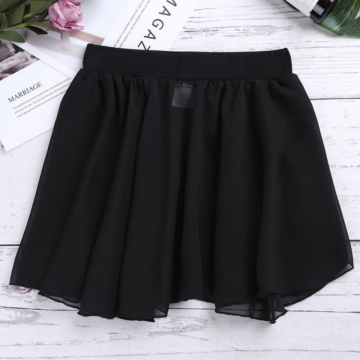 Freebily Kids Girls Dance Basic Classic Chiffon Mini Pull-On Wrap Skirt Black 7-8 by Freebily (Image #2)
