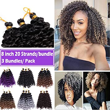 Amazon Com 8 Inch Marlybob Crochet Hair Braids Water Wave Afro Kinky Curly Synthetic Hair Bundles Extensions Jerry Curl Twist Hair Weave For Black Women 3 Bundles Pack Dark Brown Beauty